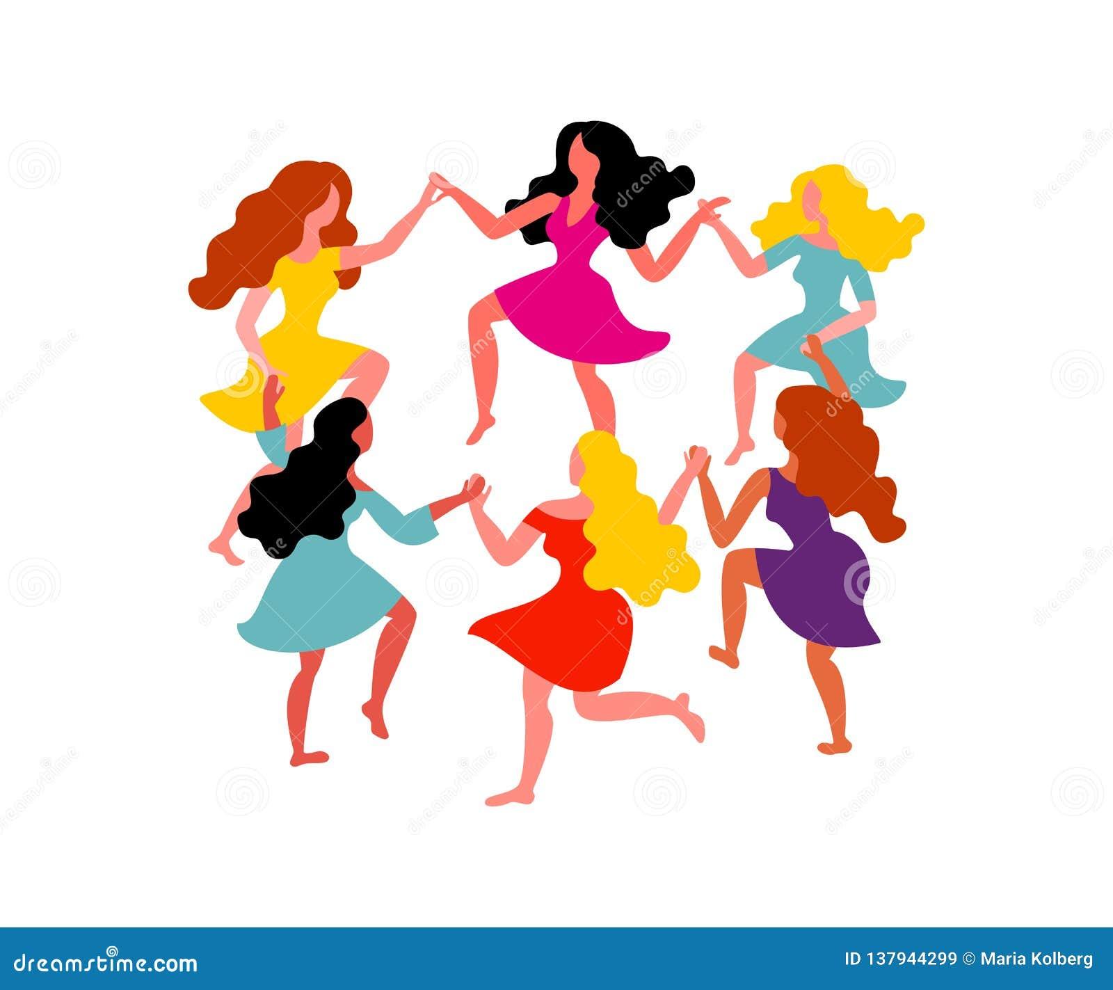 Mulheres em volta da dança Mulheres com mãos longas da posse do cabelo e dos vestidos Ilustração do vetor o 8 de março