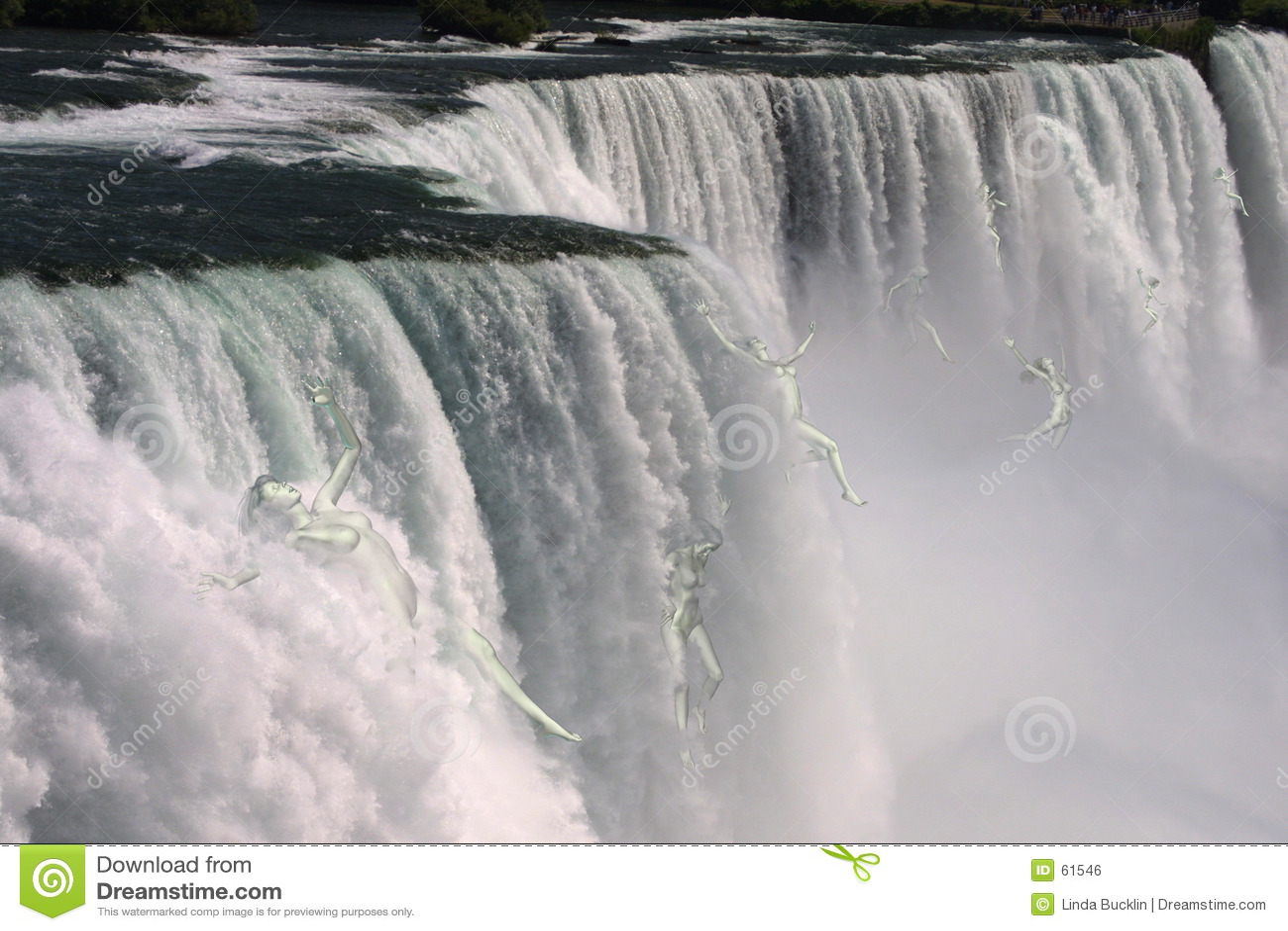 Mulheres que caem sobre Niagara Falls