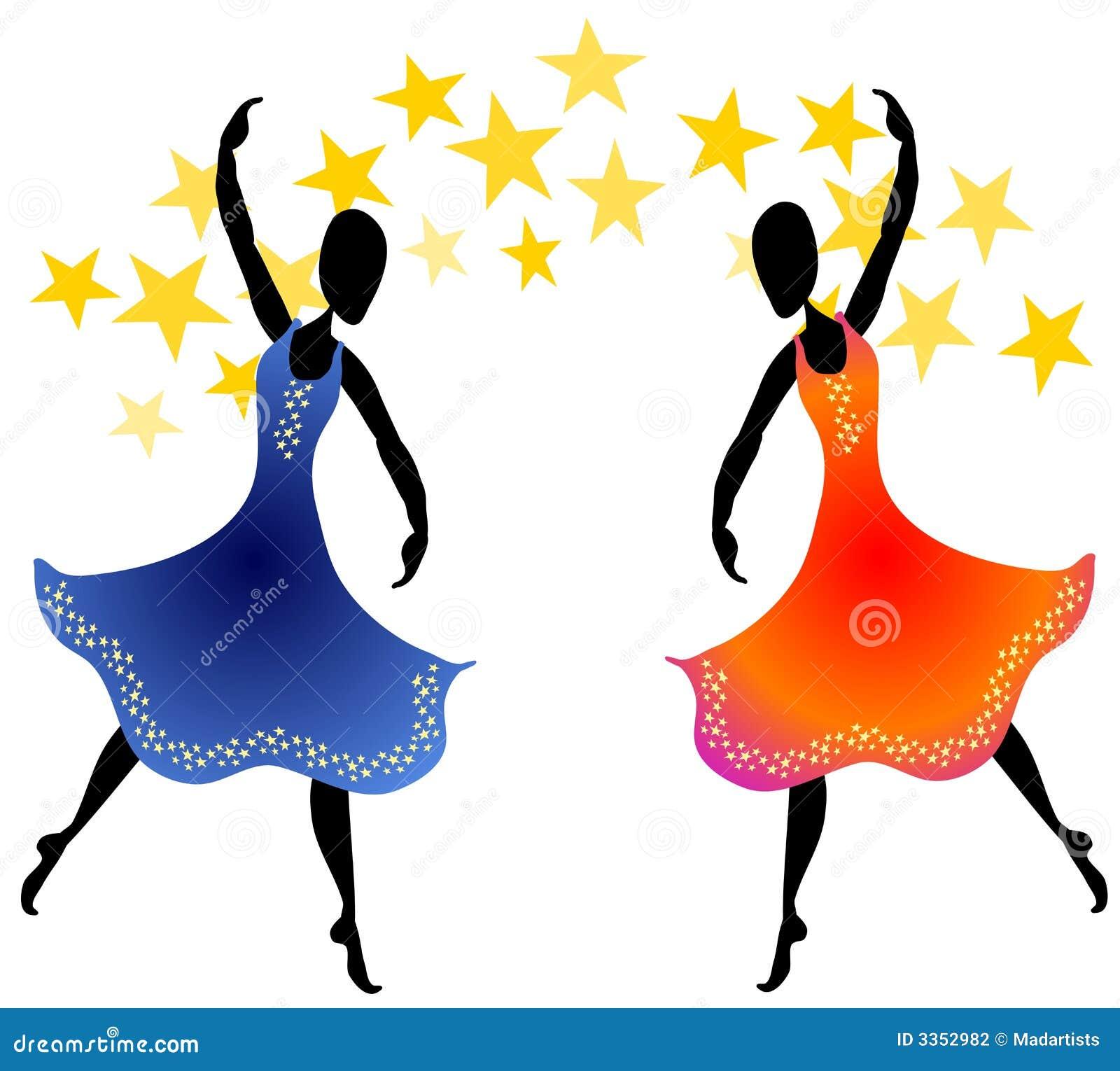 Mulheres que dançam sob estrelas