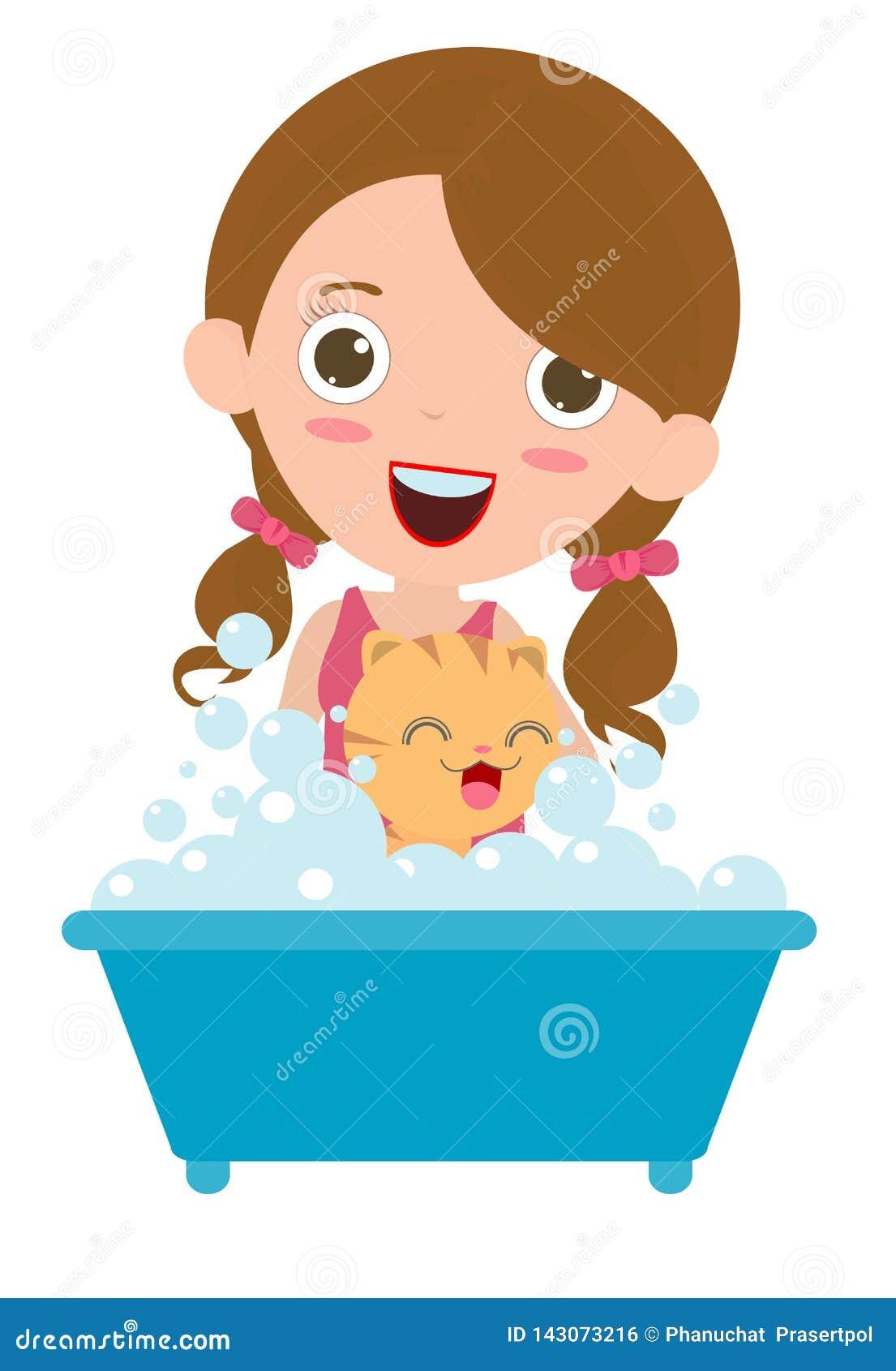 Mulheres que lavam o gato, Cat Having feliz um banho, gato que prepara, ilustração lisa dos desenhos animados do vetor