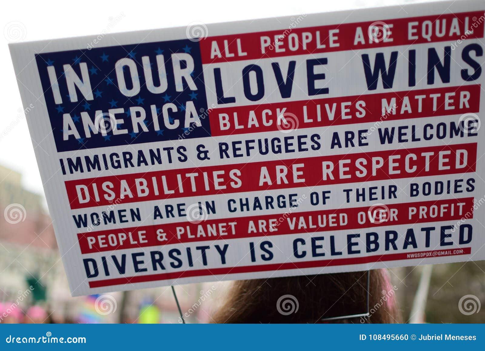Mulheres ` s março de 2017: Cartaz sobre o amor, a igualdade, e a inclusão da diversidade