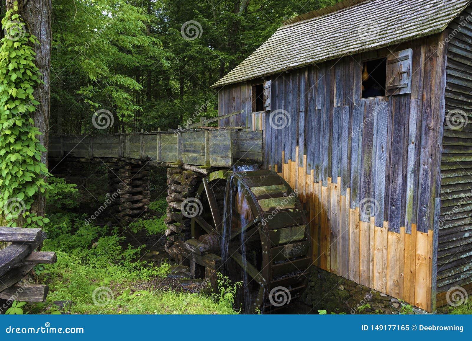 Mulino del grano da macinare in valle della baia di Cades in Tennessee Smoky Mountains