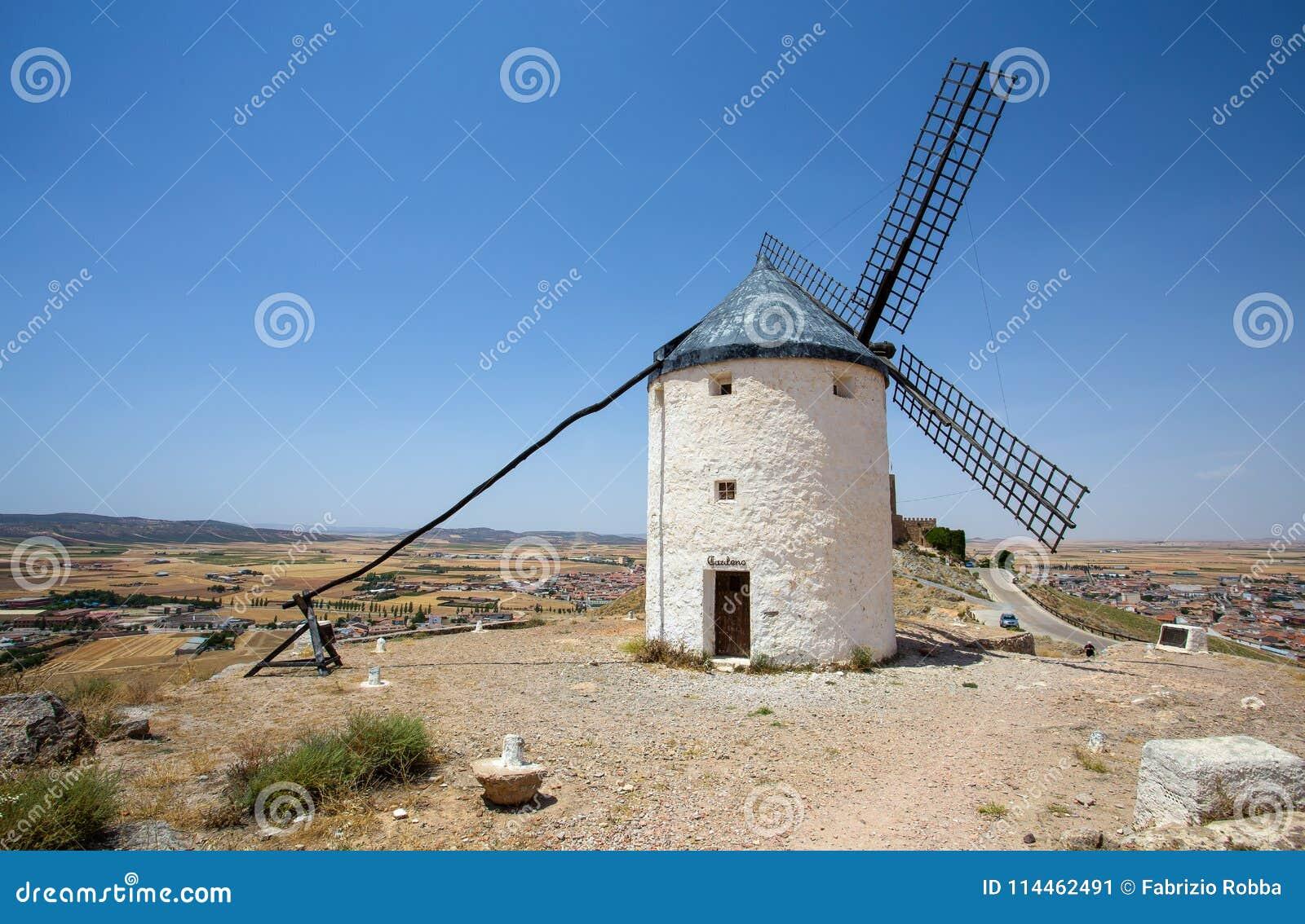 Mulino a vento in Campo de Criptana La Mancha, Consuegra, itinerario di Don Quixote, Spagna