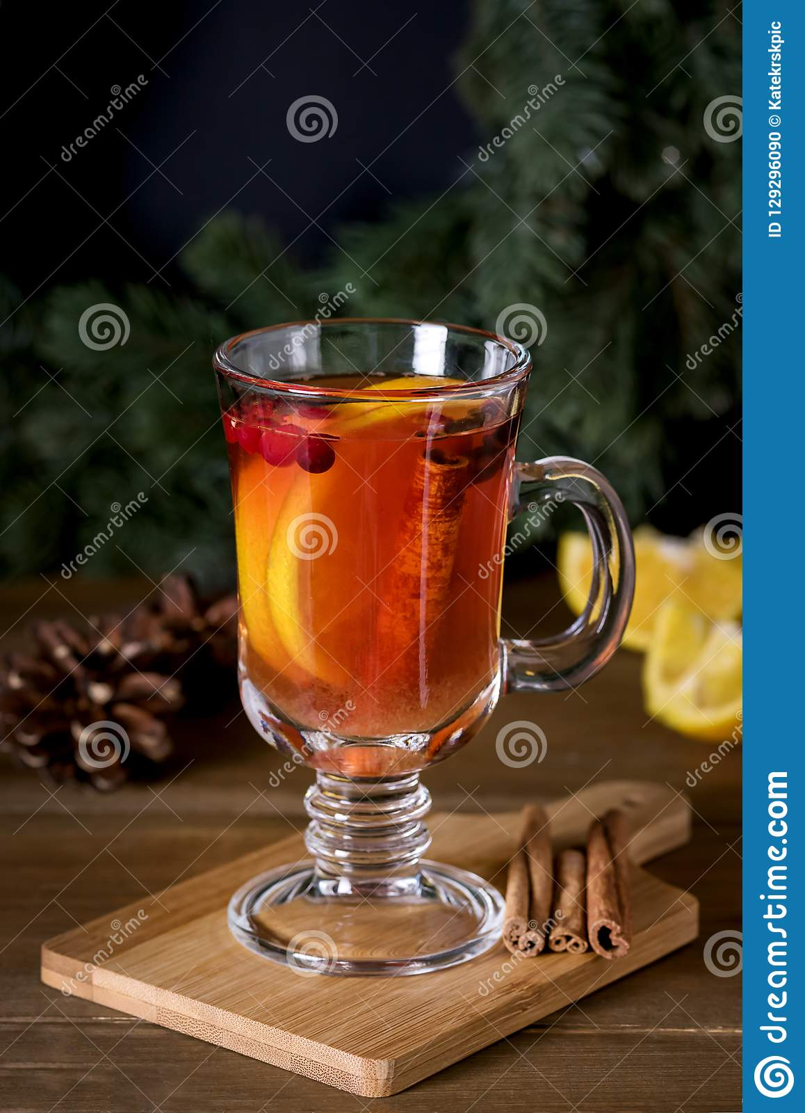 Mulled Cider with Added Spices and Citrus Delicious and Warming Hot Drink Winter Christmas Holidays Drink Vertical