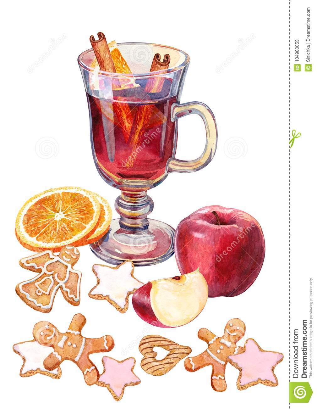 Mulled Wine And Christmas Treat Watercolor Stock Illustration