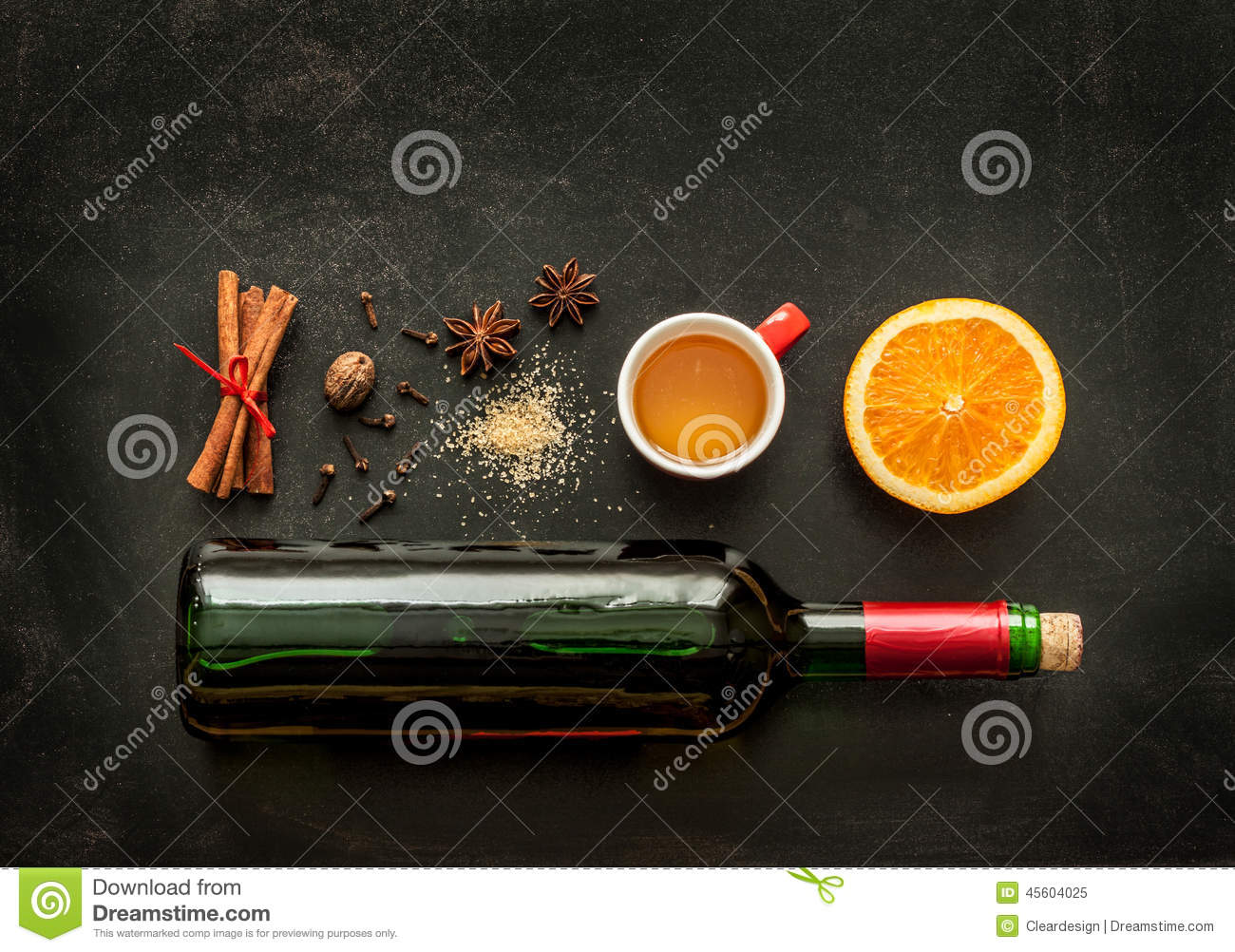 Mulled Wine Recipe Ingredients On Chalkboard - Winter Warming Drink ...