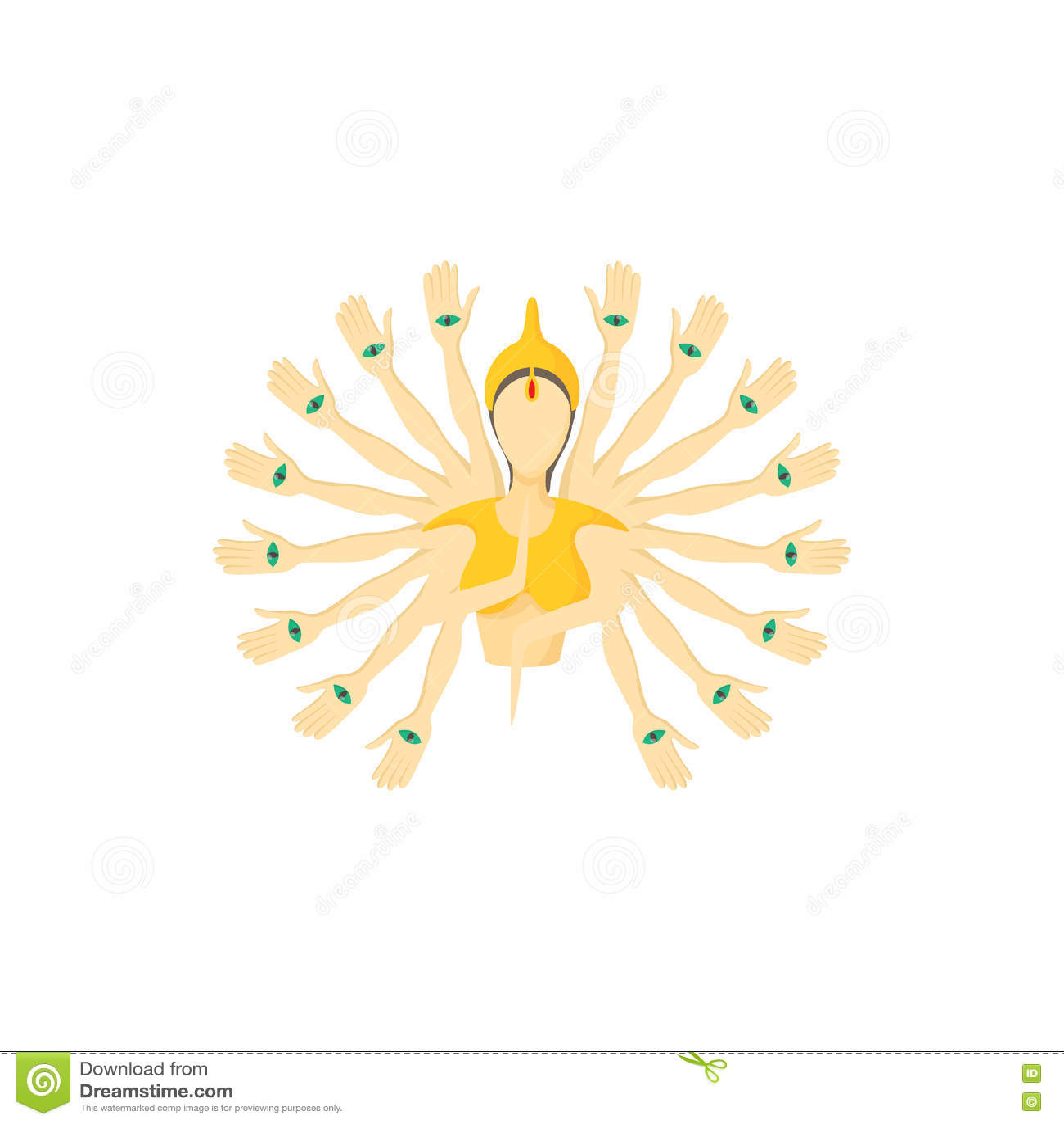 Multi вооруженный значок Будды, стиль шаржа