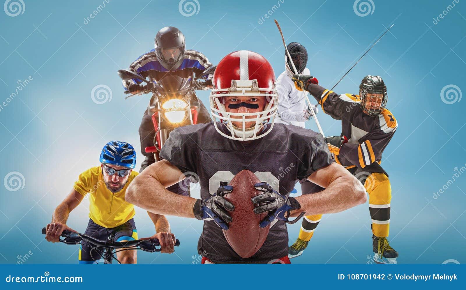 A multi colagem conceptual dos esportes com futebol americano, hóquei, cyclotourism, cercando, esporte automóvel