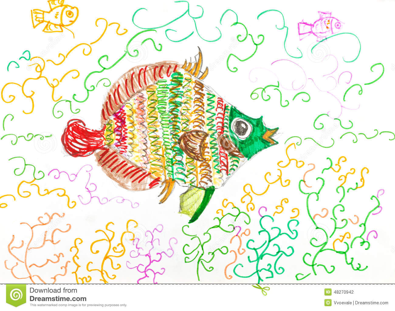 Multi-color Fish Fish Between Algae Stock Illustration ...