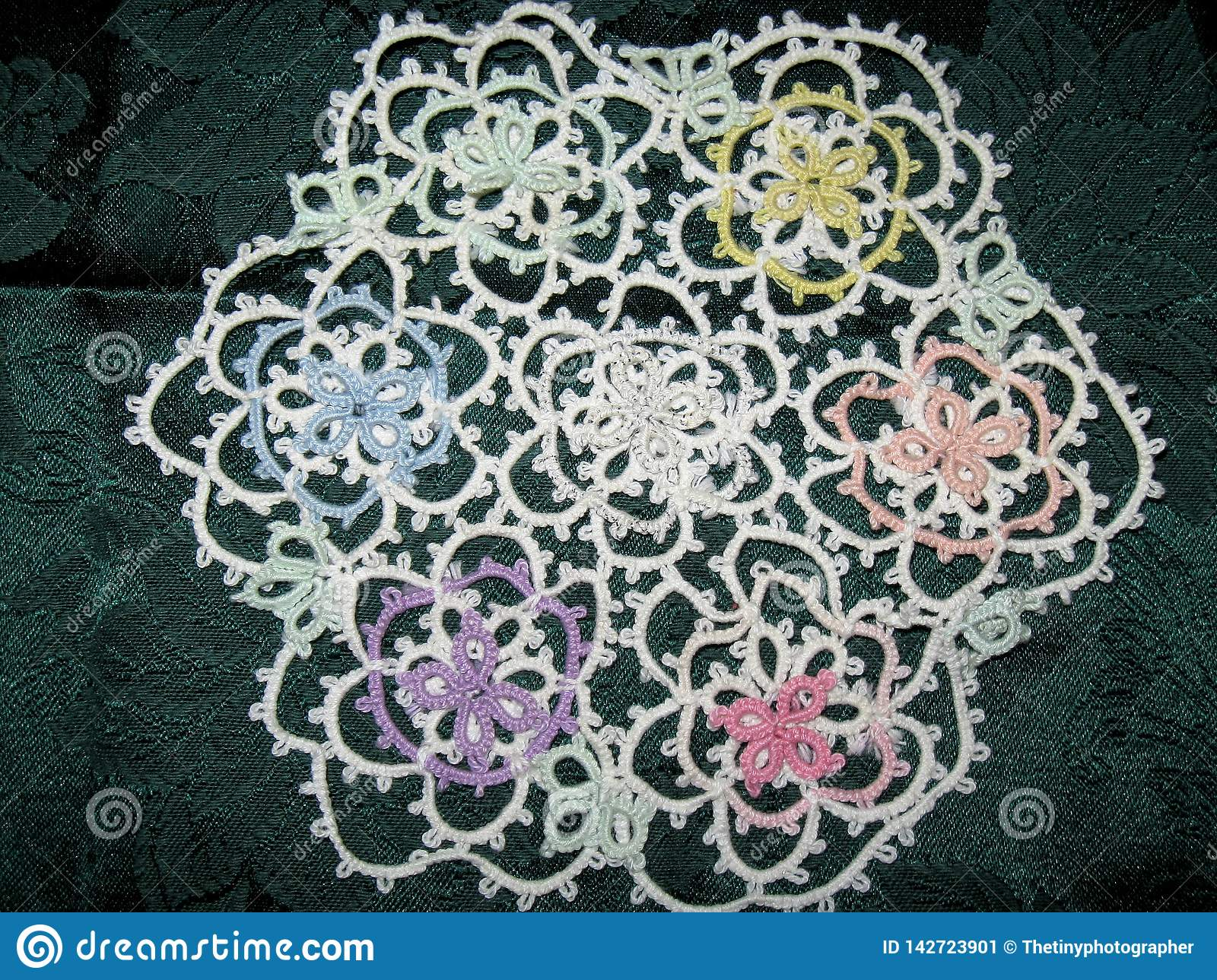 Multi-color Flower Design Tatted Doily