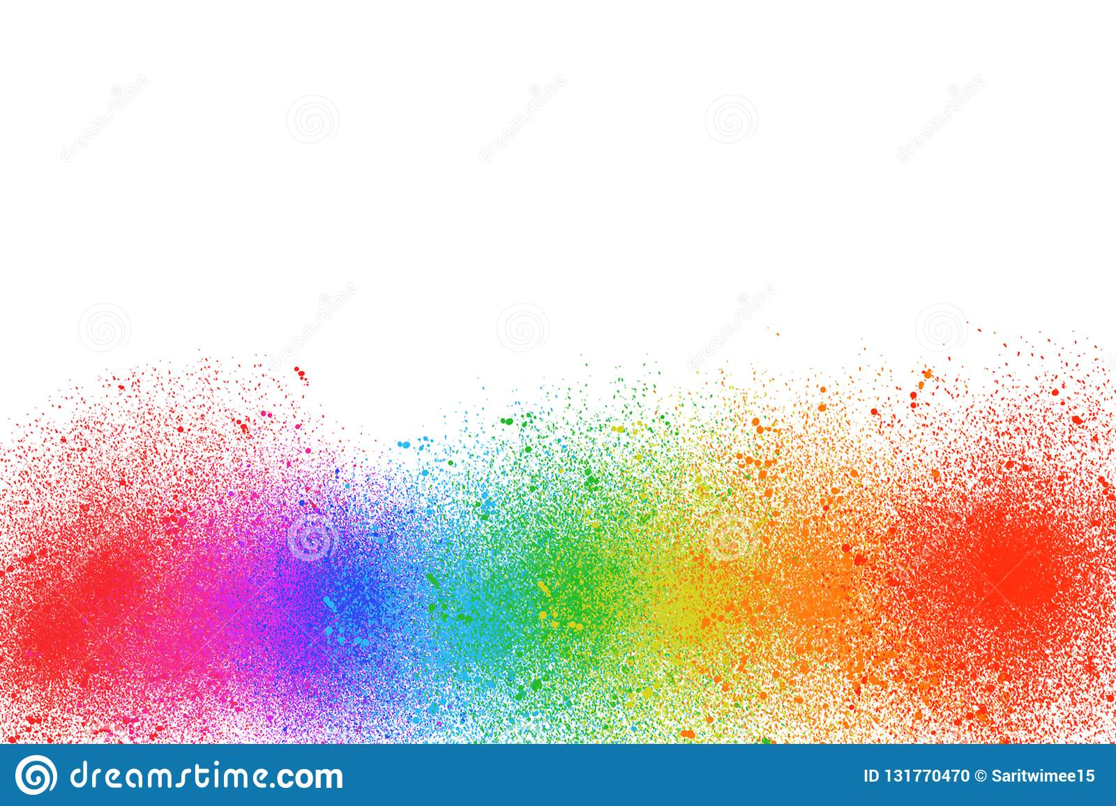 Multi color paint is a rainbow on a white background