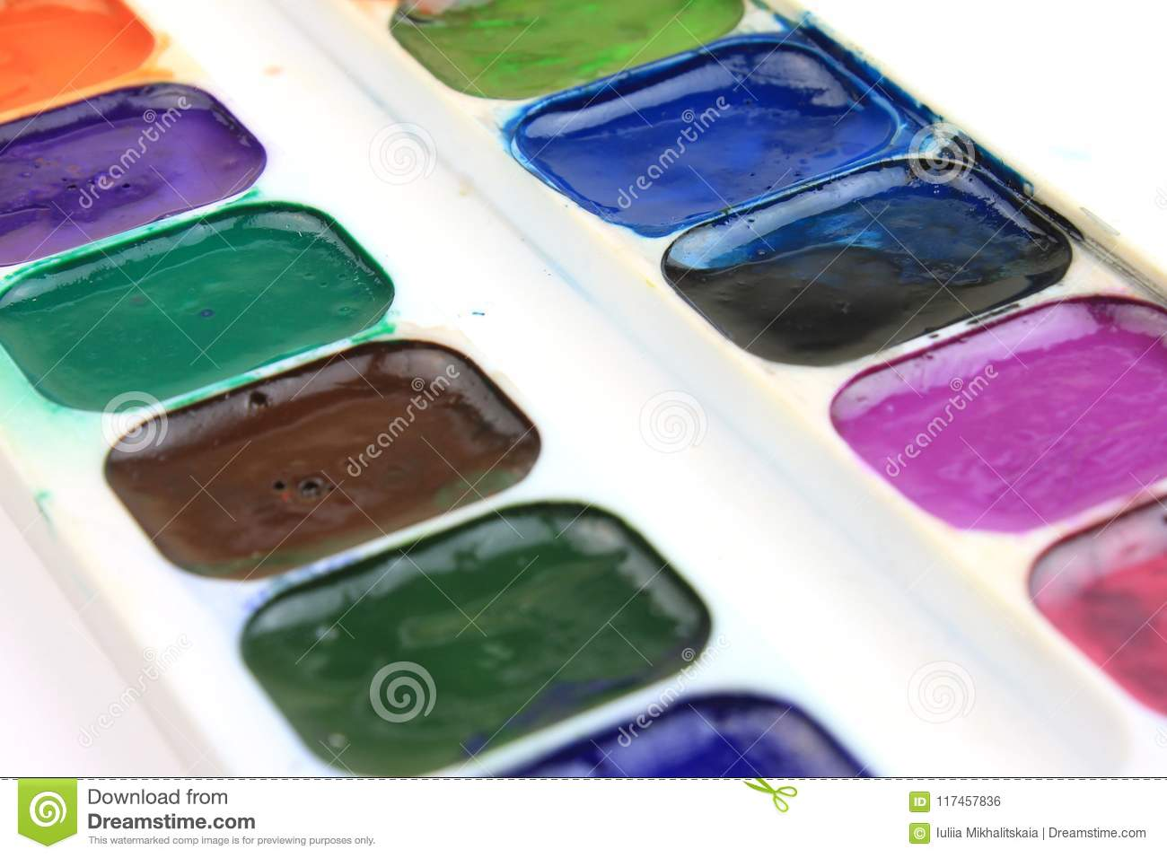 Palette Of Watercolor Paints Stock Photo Image Of Container