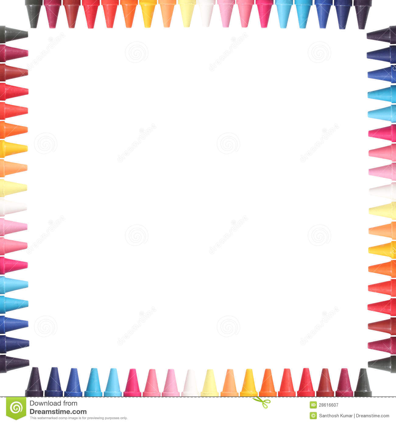 Multi Color Pastelcrayon Pencils Border Isolated Stock