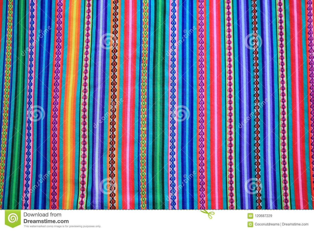 Multi color vivid tone stripe of Peruvian fabric for background