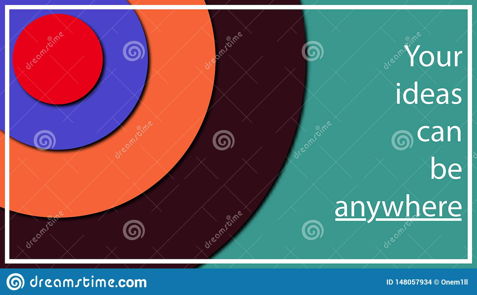 Multi-colored abstract illustration in the form of different diameter circles at different heights from each other. Volume effect