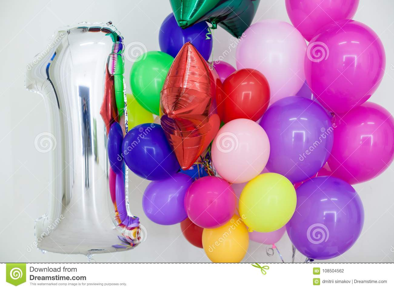 multi colored balloons and gifts for the holiday stock photo image