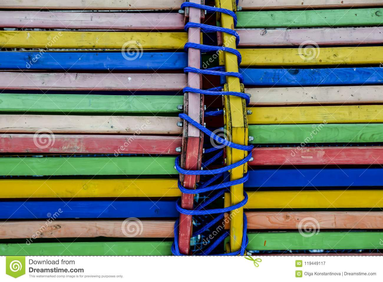 Multi-colored boards wood background abstract bright rope blue y