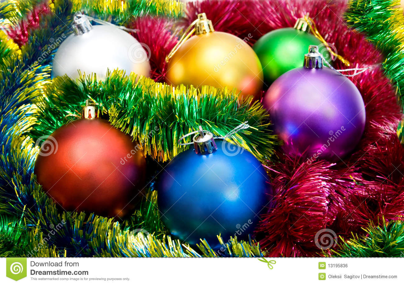 Multi-colored Christmas Tree Balls Stock Photo