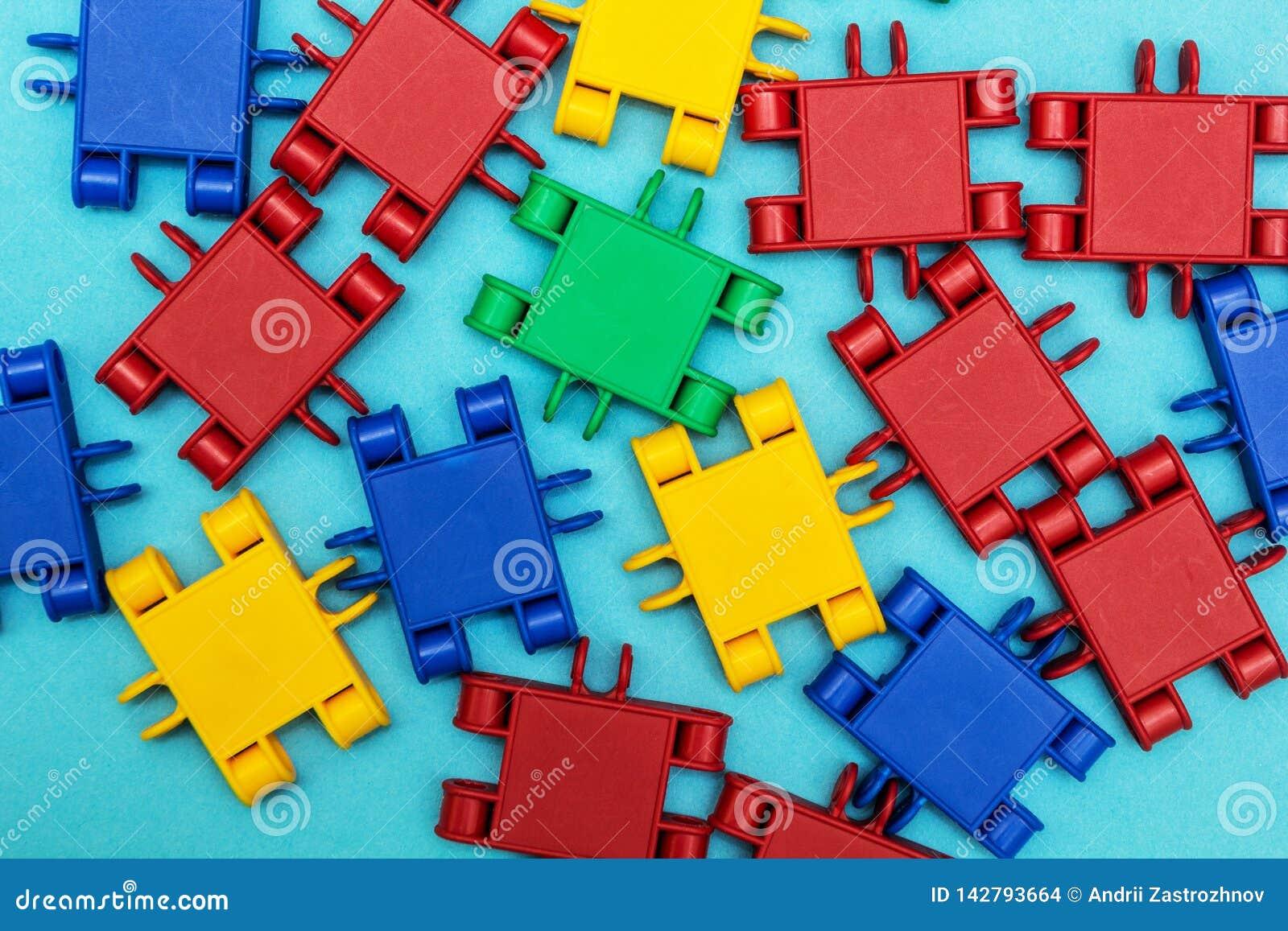 Multi-colored detailleert een aannemer op blauwe achtergrond
