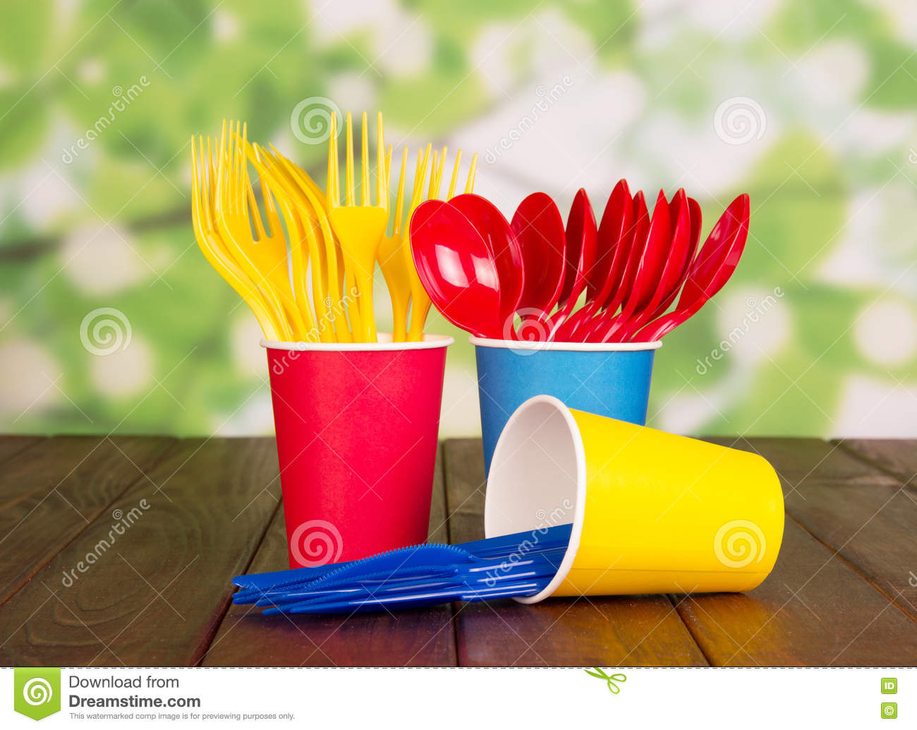 Multi Colored Plastic Cups Royalty Free Stock Image
