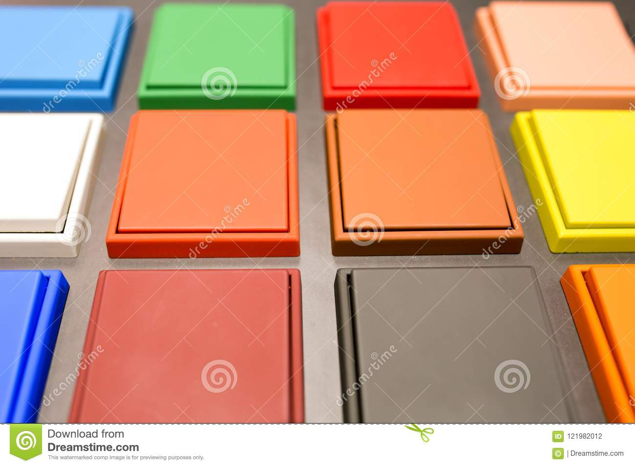 Multi-colored Electrical Switches Stock Photo - Image of panel ...