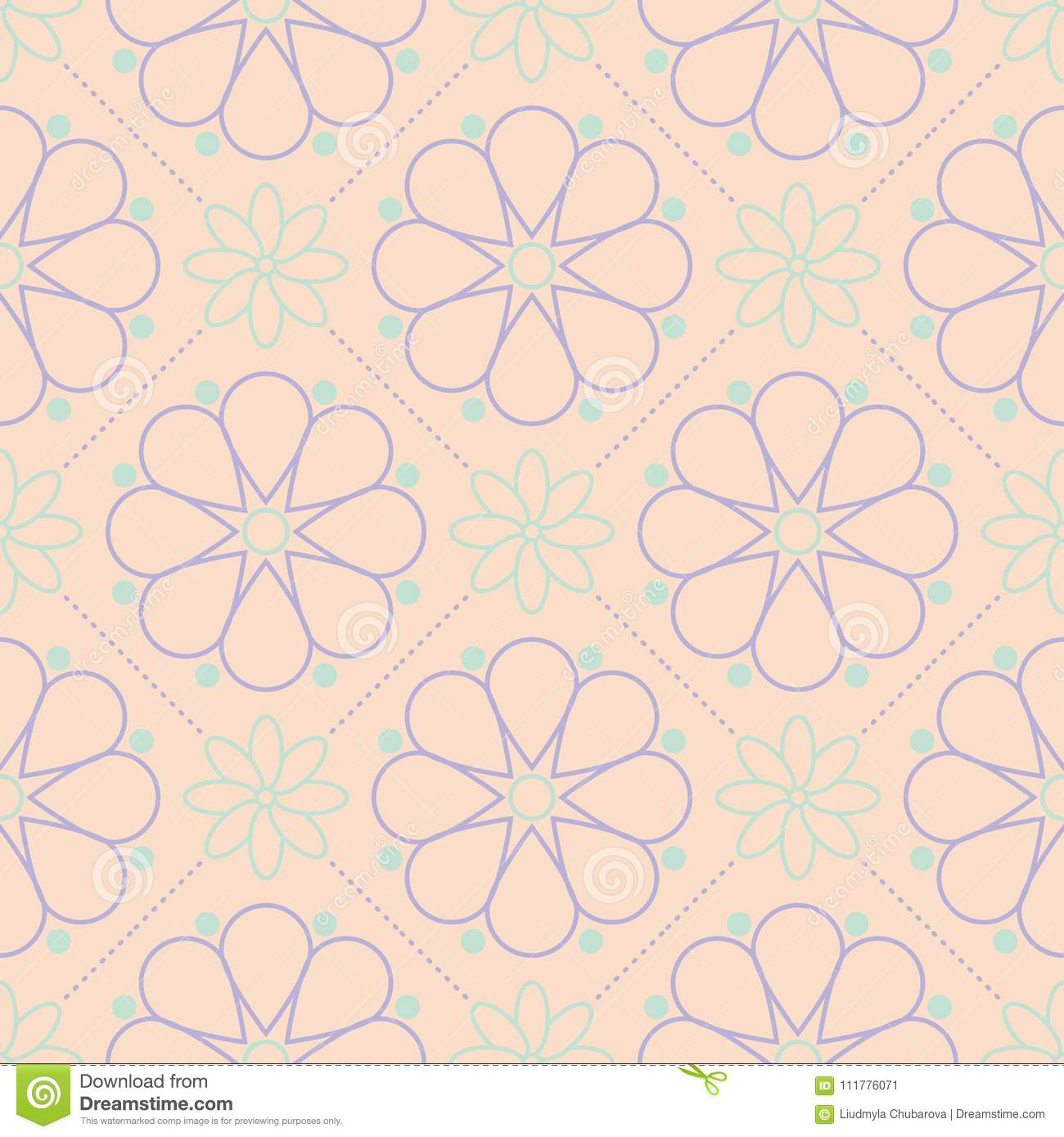 Multi colored floral seamless pattern. Beige background with violet and blue flower elements