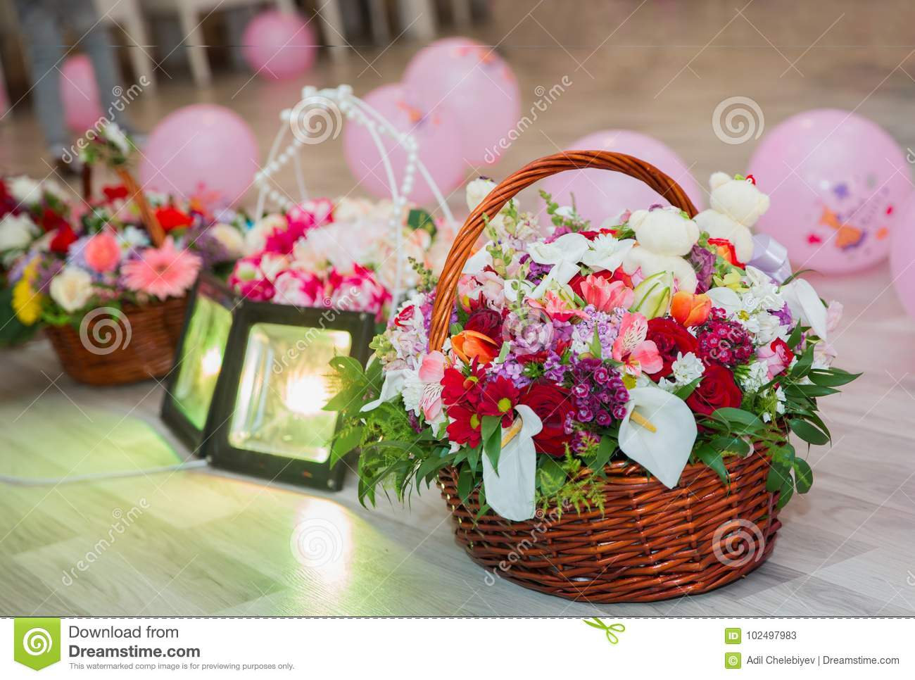 Multi Colored Flower Basket For Childrens Birthday Stock Image