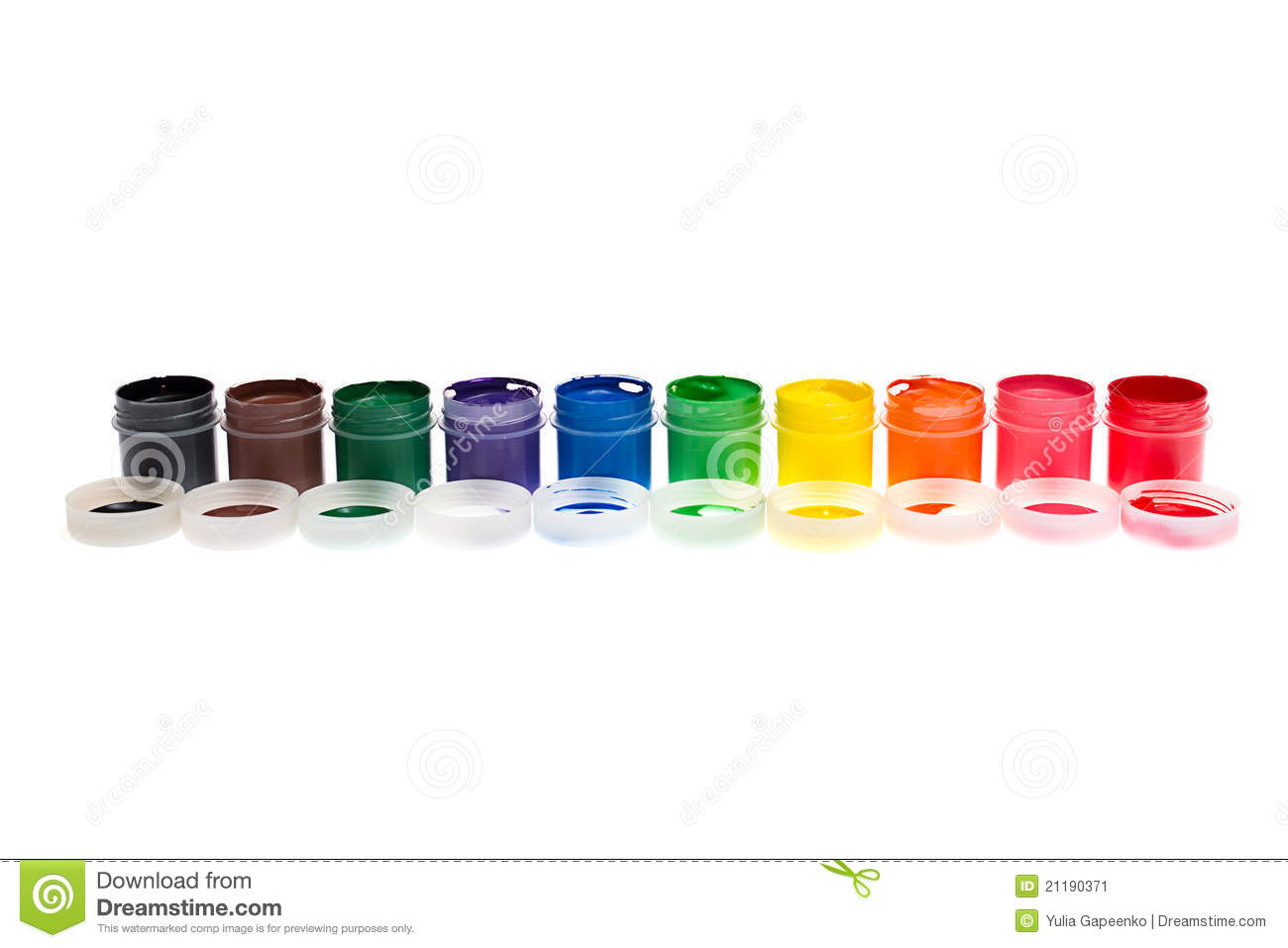 Multi-colored gouache paint isolated