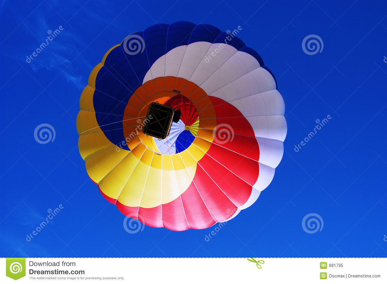 Multi colored hot air balloon on a blue sky 2