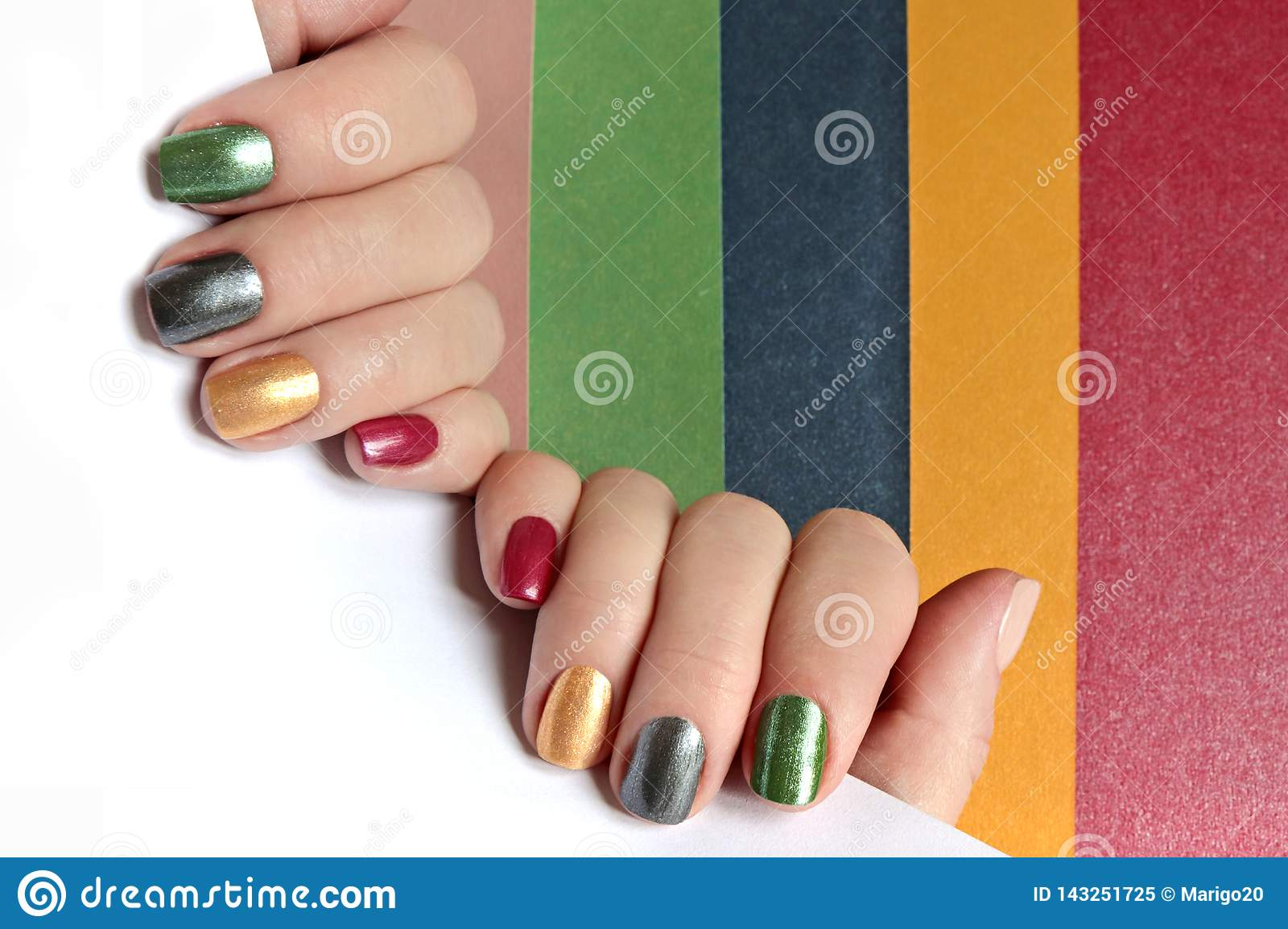 Multi-colored Mother Of Pearl Manicure On Short Nails.Nail Art ...