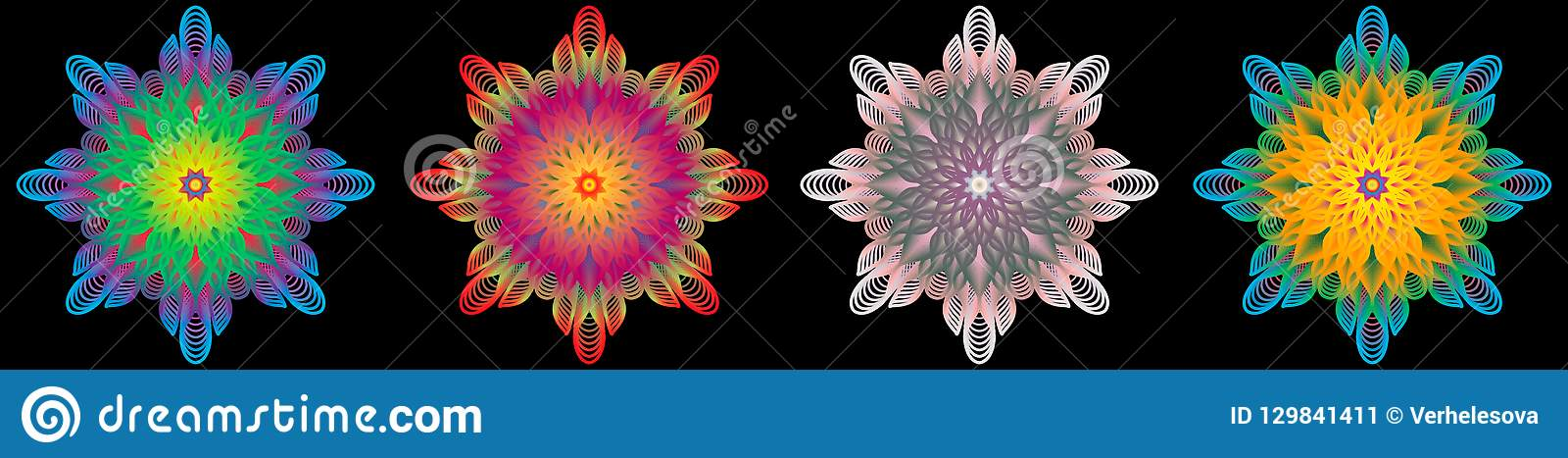 Multi colored oriental vintage pattern with arabesques floral elements, mandala