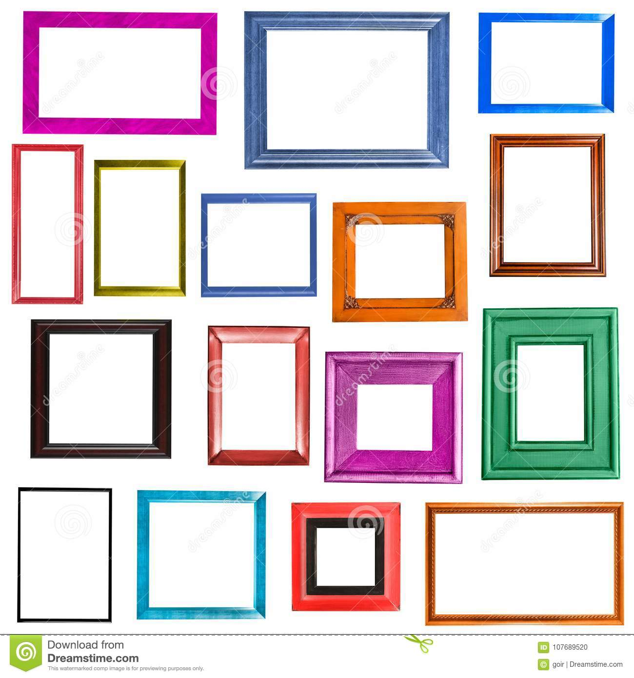 Multi-colored Picture Frames Collection Stock Photo - Image of ...