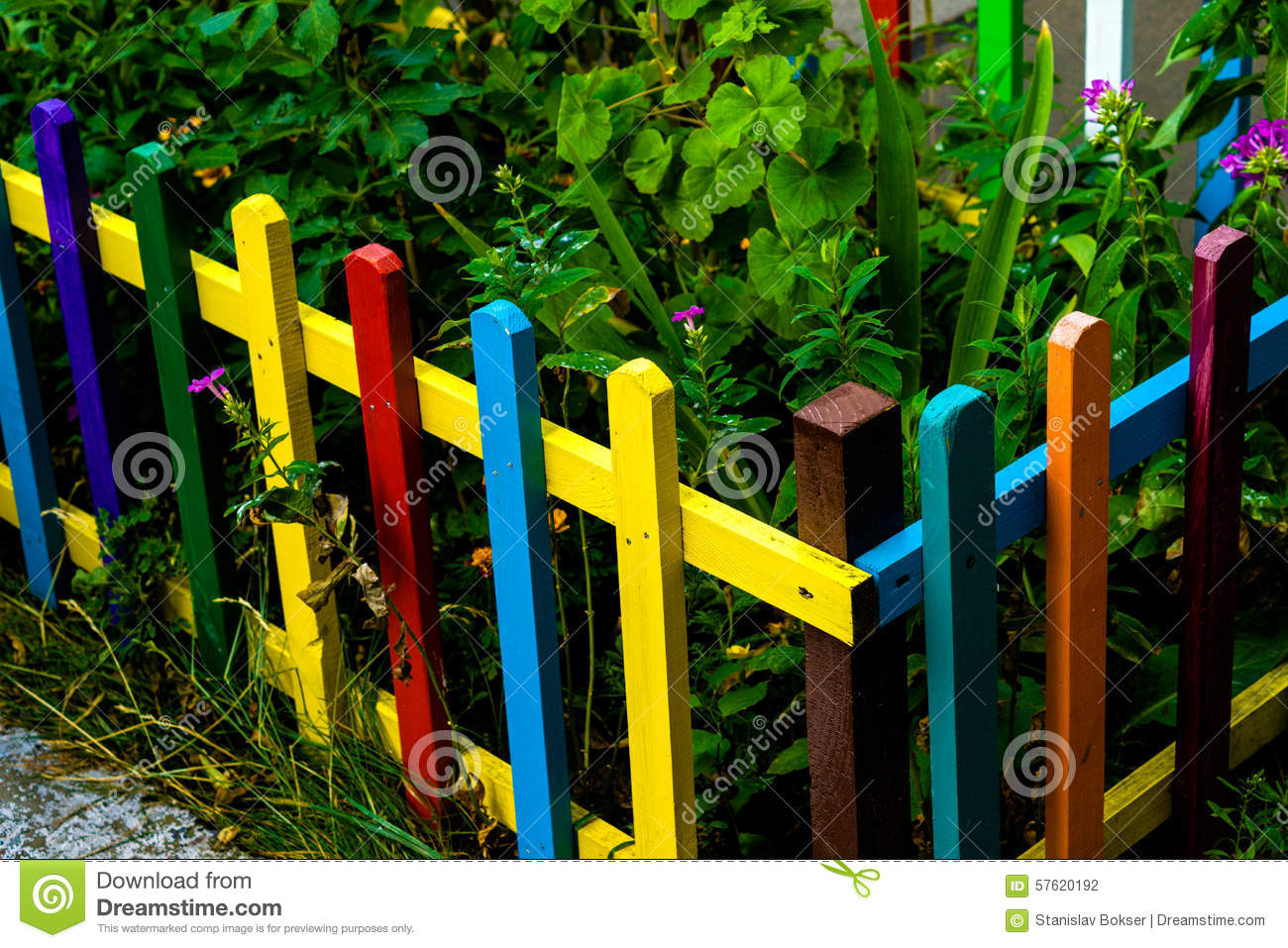 Multi colored rainbow wooden fence in garden stock photo