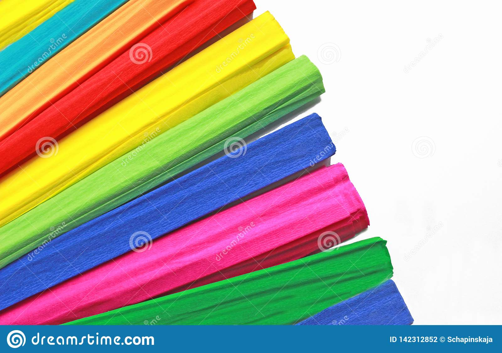 Multi colored rolls of crepe paper fanned out