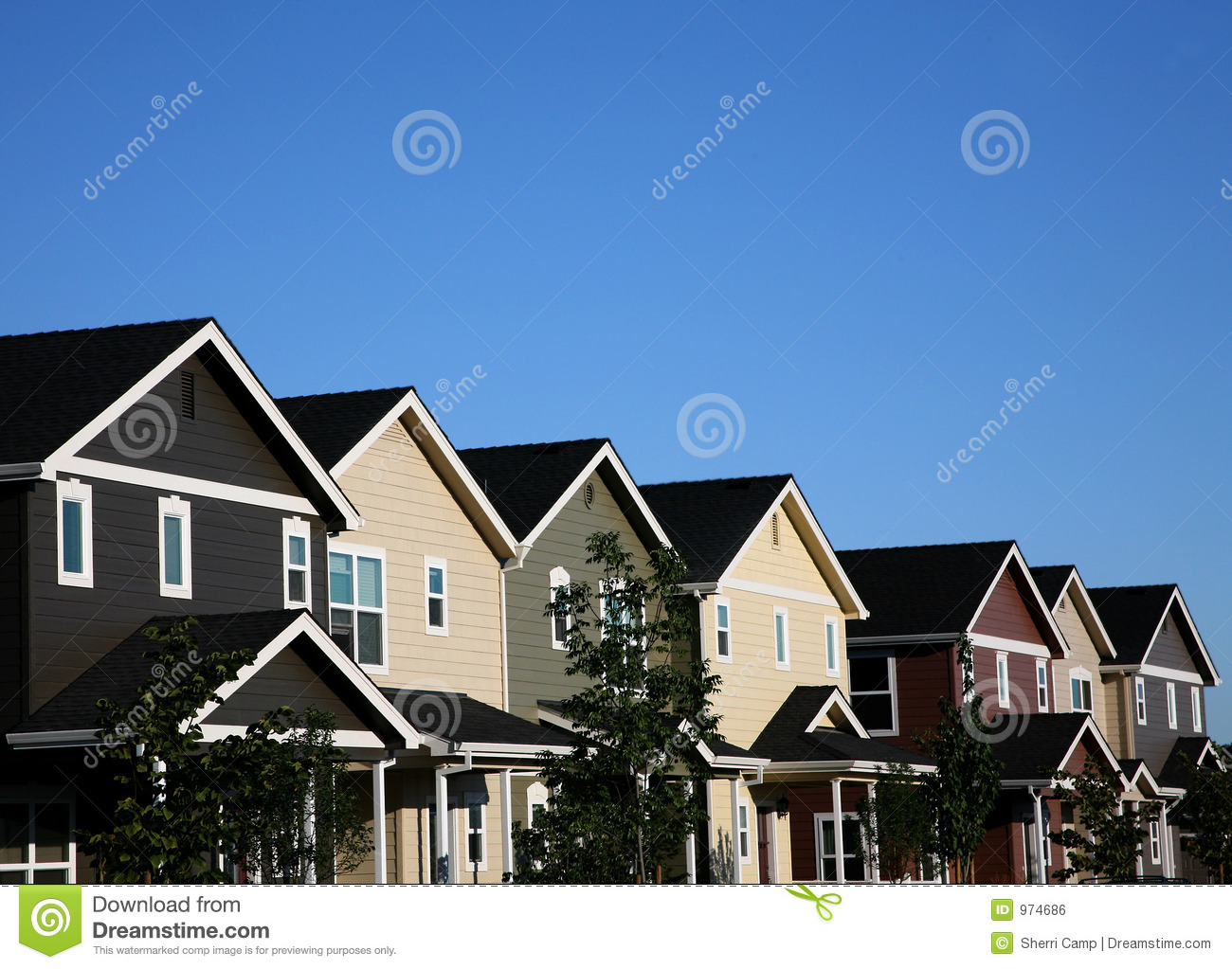 Multi-colored Row of Houses