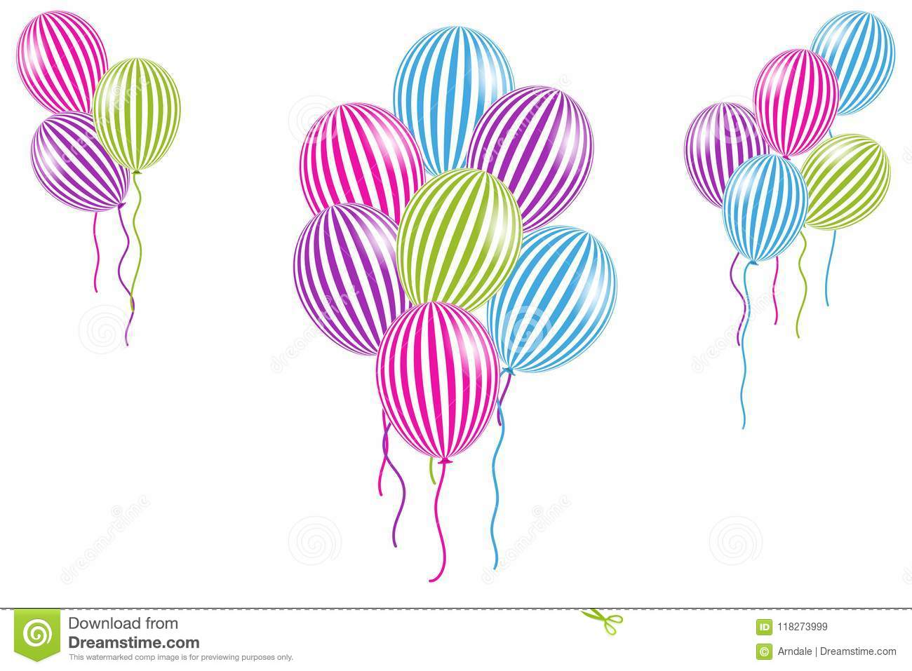 download multi colored striped helium balloons stock vector illustration of celebration happy
