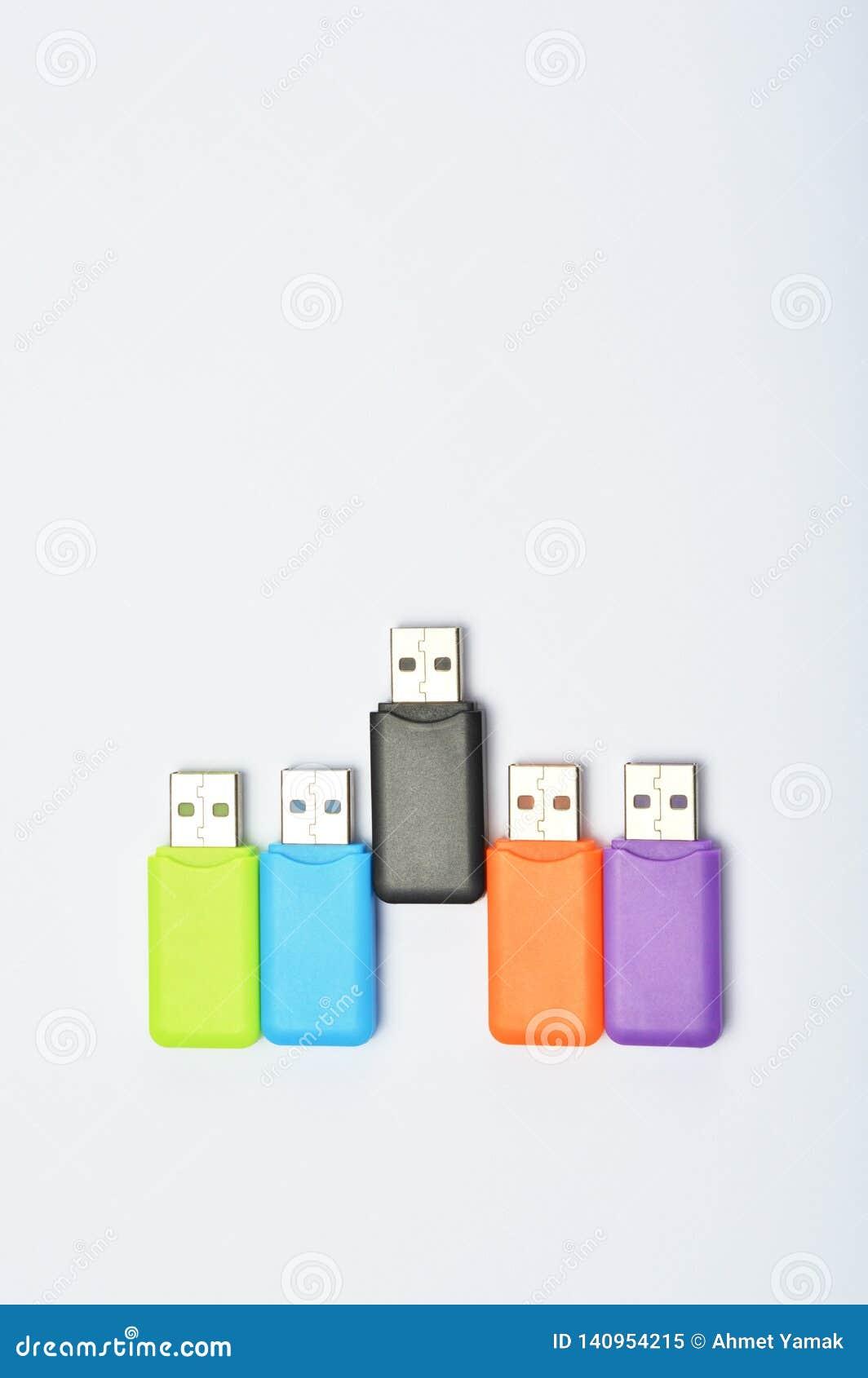 Multi colored USB sticks