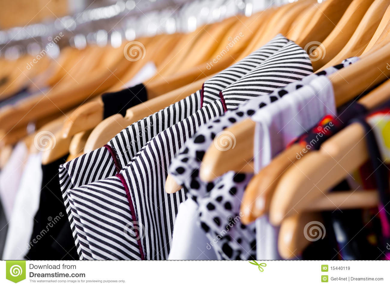 Download Multi-coloured Wardrobe Showcase, Closeup Stock Image - Image of fashionable, display: 15440119