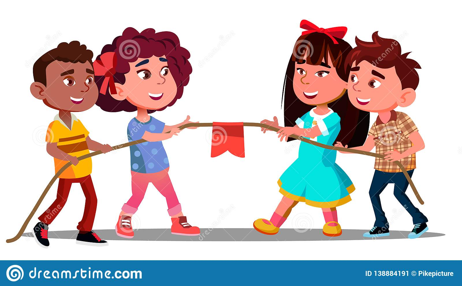 Multi-Ethnic Boys And Girls Pull The Rope In Team Game Vector. Isolated Illustration