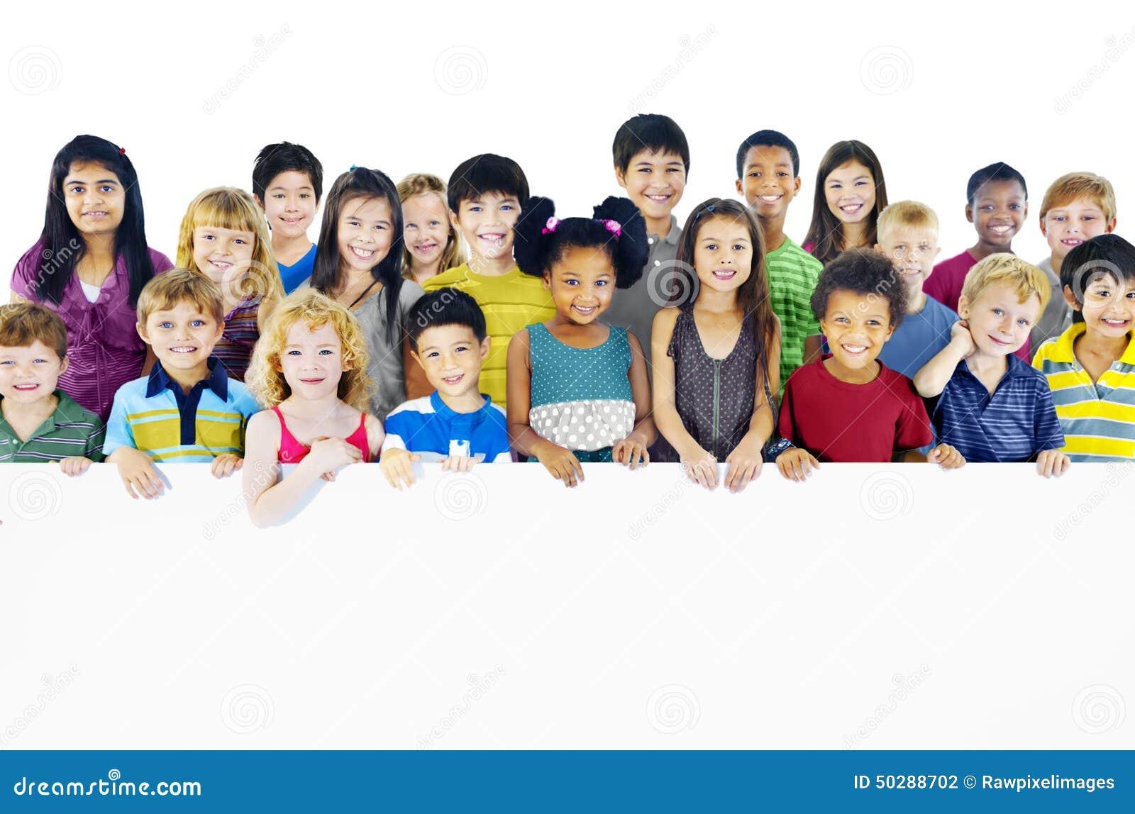 Multi-Ethnic Group Children Holding Empty Billboard ...