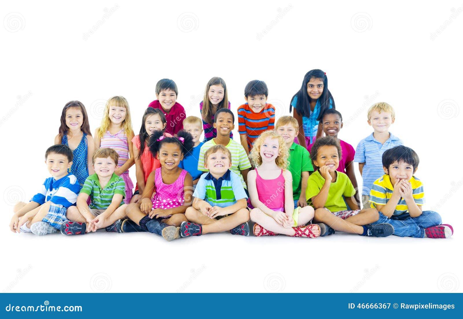 Multi-ethnic Group Of Children Sitting Stock Image - Image ...