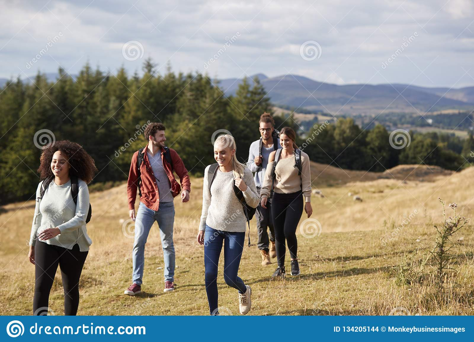 Multi ethnic group of five happy young adult friends talking as they walk on a rural path during a mountain hike