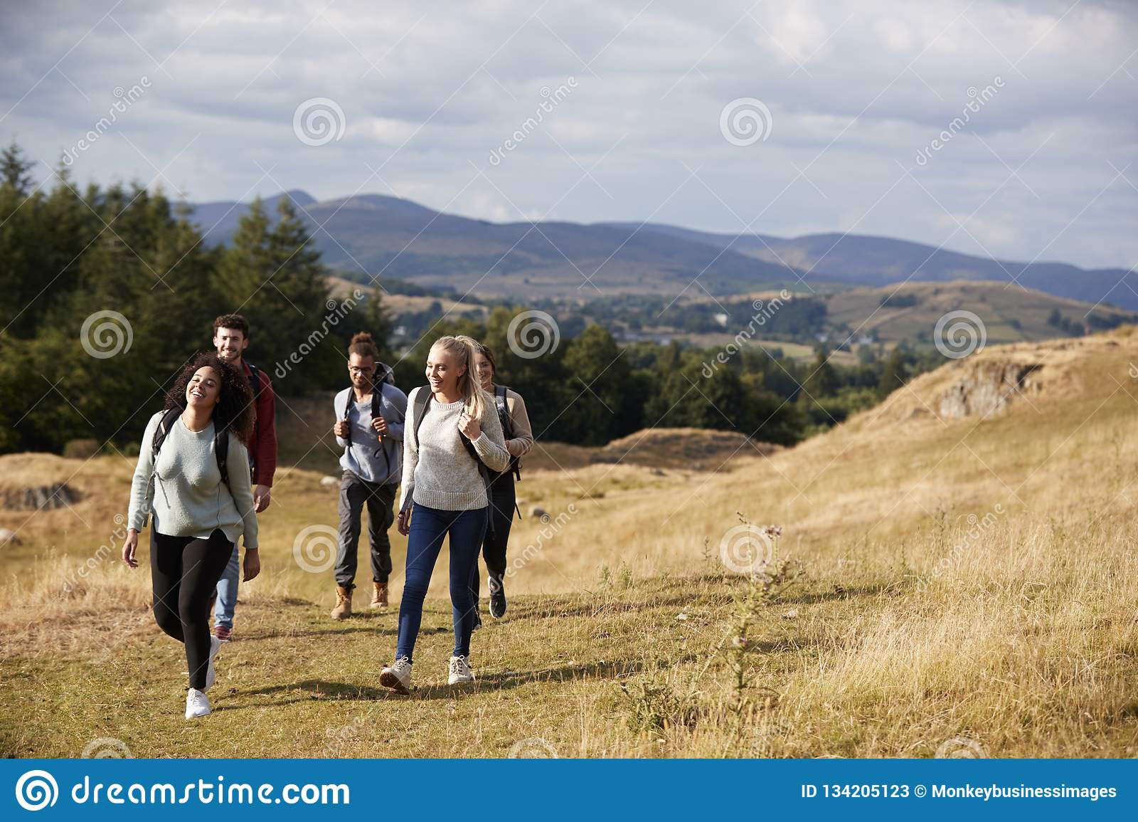 Multi ethnic group of five happy young adult friends walking on a rural path during a mountain hike