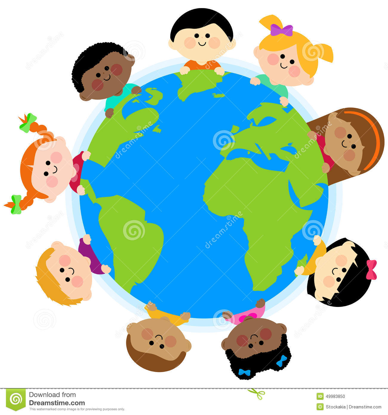Multi Ethnic Group Of Kids Around The Earth Stock Vector ...