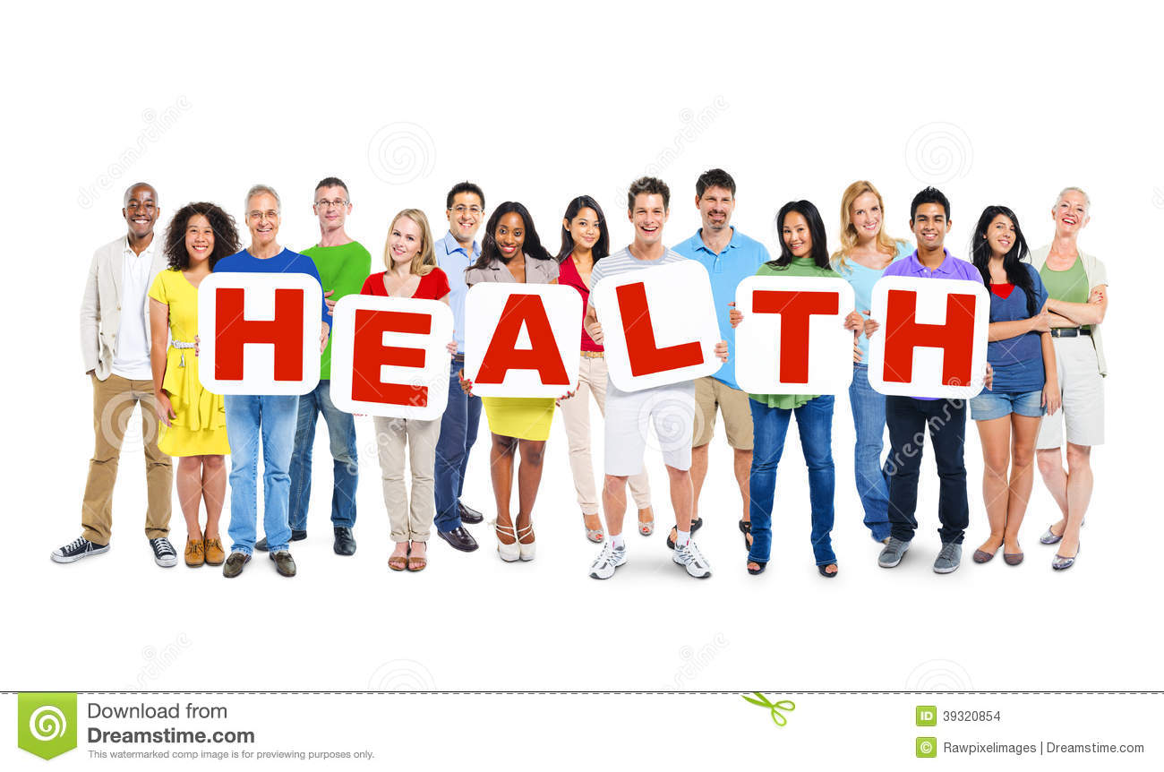 MultiEthnic Group Of People Holding Health Stock Photo  Image