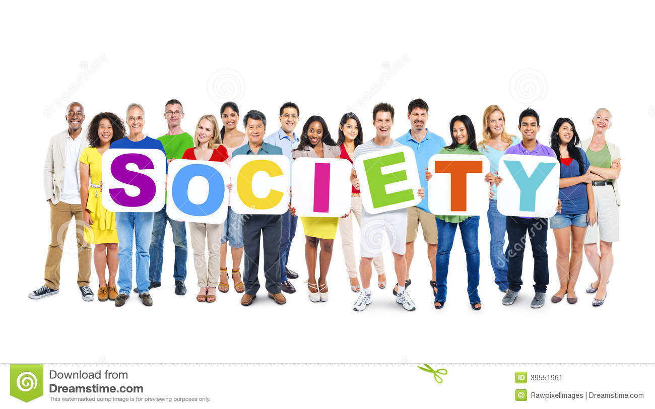 Multi Ethnic Group Of People Holding Society Stock Photo