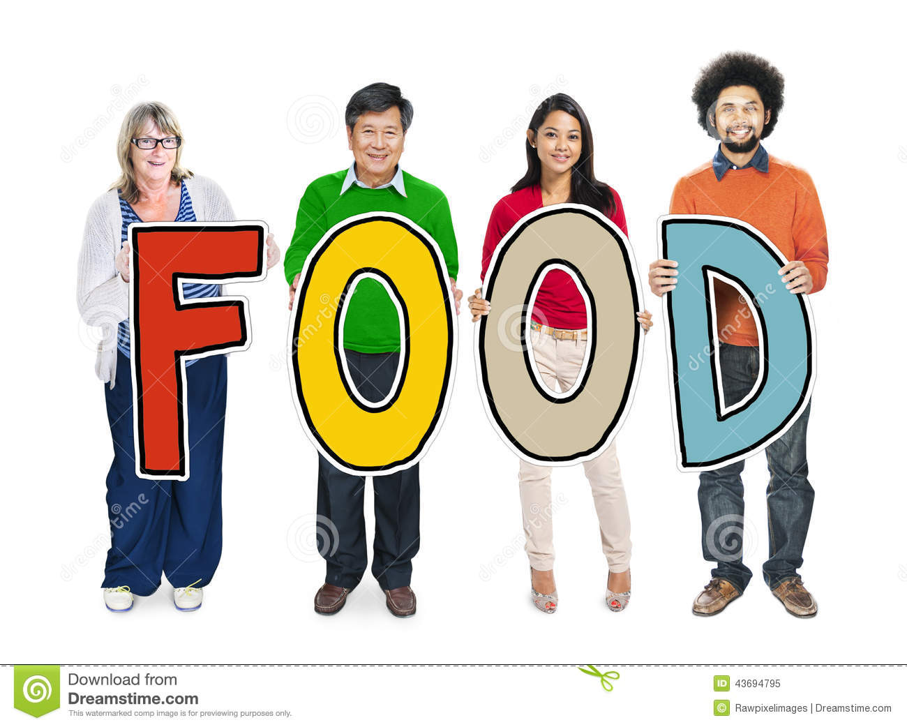 Multi-Ethnic Group Of People Holding Text Food Stock Image ...