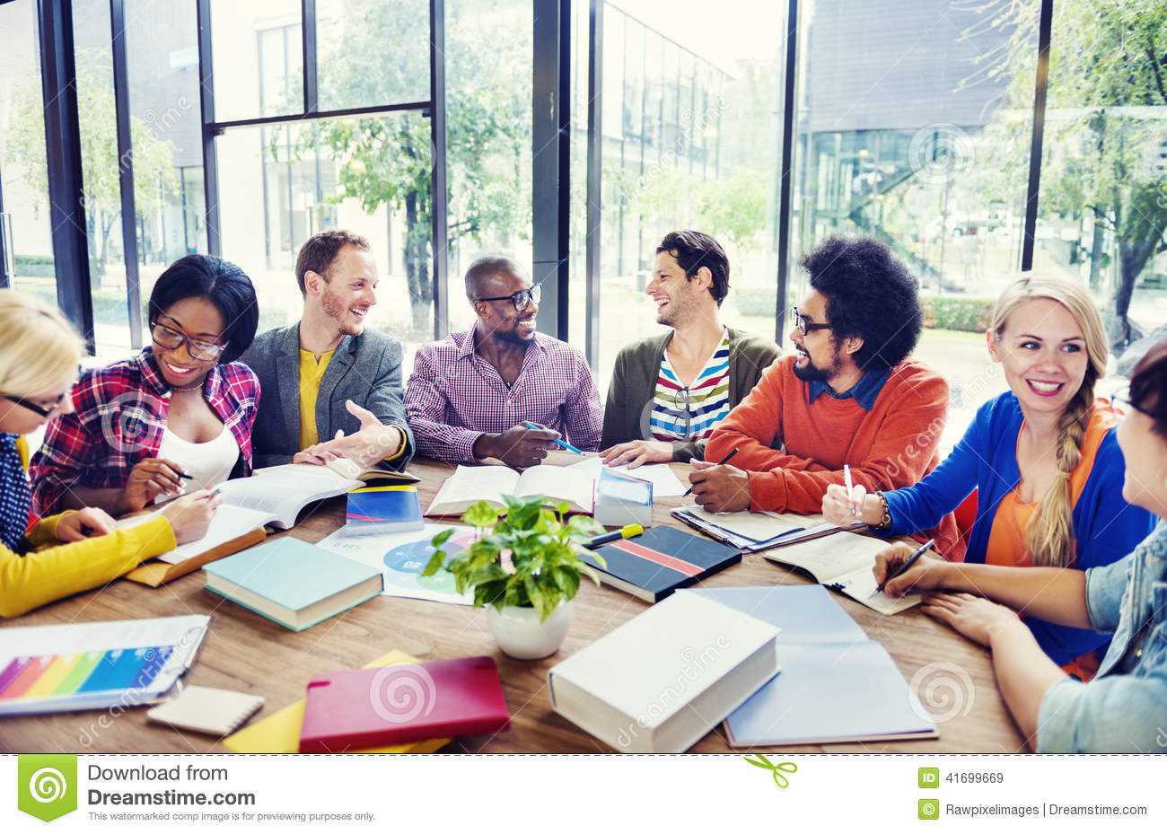 Multi Ethnic Group Of People Working Together Stock Image Image Of