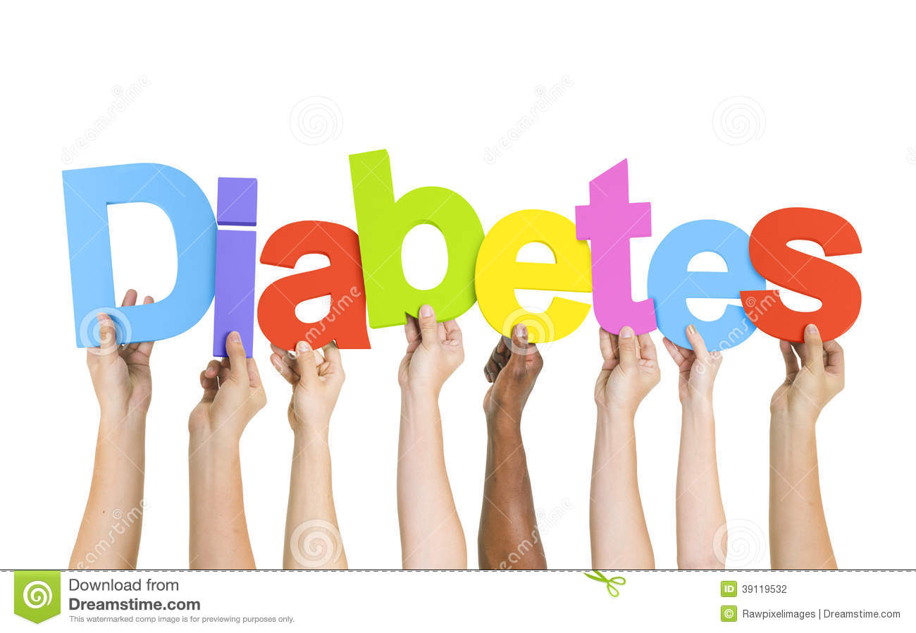 Multi-Ethnic Hands Holding The Word Diabetes Stock Photo - Image ...