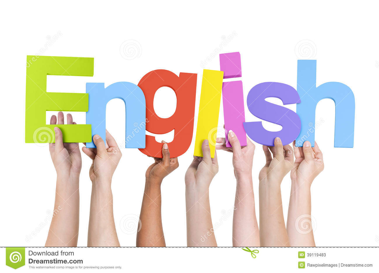 Multi-Ethnic Hands Holding The Word English Stock Photo ...